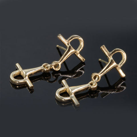 14k Gold Full Cheek Snaffle Bit Earrings