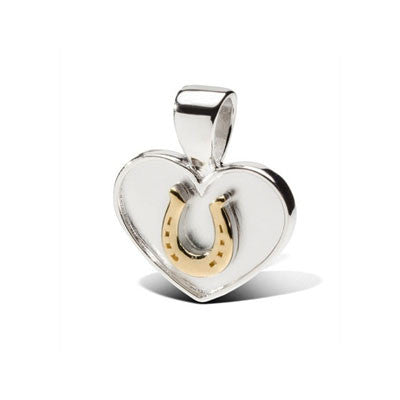 18k Gold Horseshoe on Heart Pendant Necklace