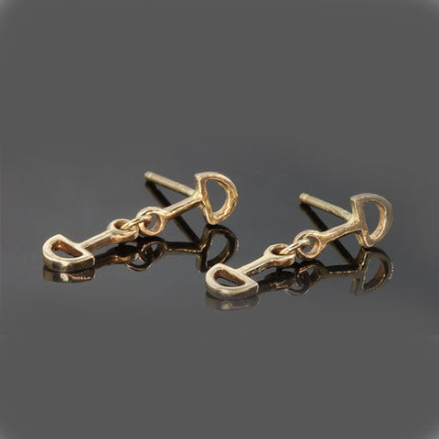 14k Gold D Ring Snaffle Bit Earrings