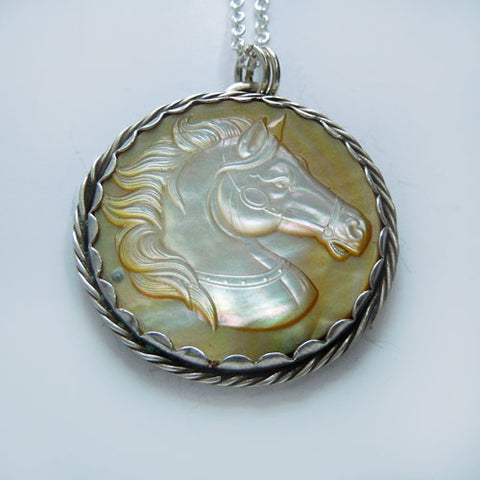 Carousel Horse Head Carved MOP Pendant Necklace