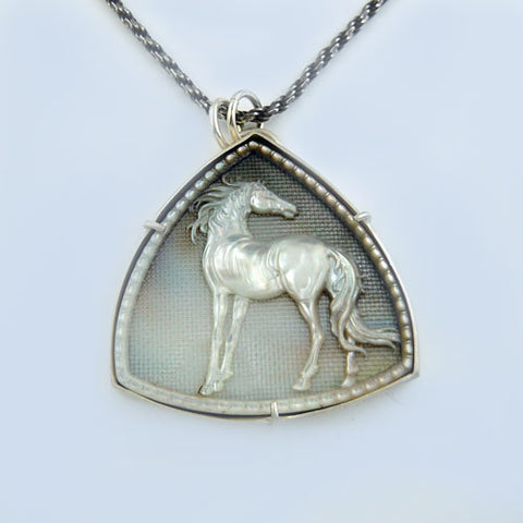 Trillium Carved Horse Pendant Necklace MOP