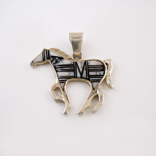 Poco Black and White Inlay Horse Pendant Necklace