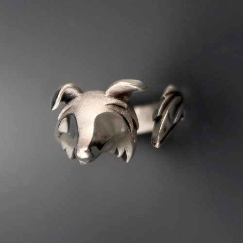 Border Collie Ring in Sterling Silver