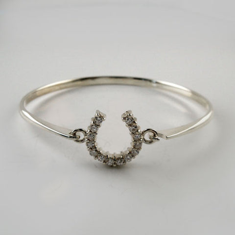 Petite CZ Horseshoe Bangle Bracelet