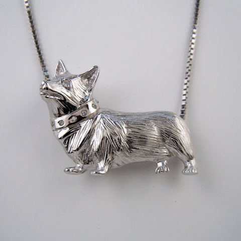 Corgi with CZ Accented Collar Necklace