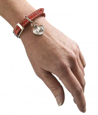 Dog Bone on Heart on Leather Bracelet