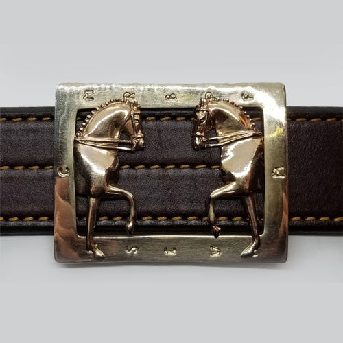 Enter At A Dressage Belt Buckle Bronze