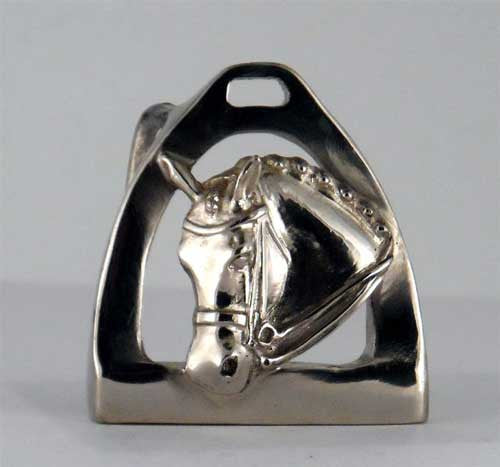 Dressage Horse and Stirrup Belt Buckle in Bronze