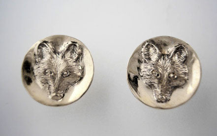 Fox Mask Dangle or Post Earrings Sterling Silver