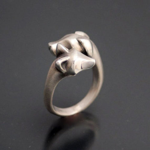 Fox and Hound Ring in Sterling Silver