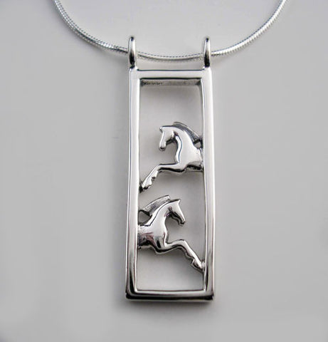 .Framed Horse Earrings Sterling Silver