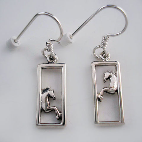 Framed Horse Earrings Sterling Silver