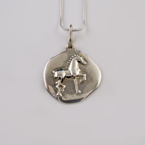 Stylized Antique Coin Horse Pendant Necklace