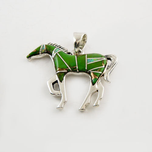 Jigsaw Green Turquoise Inlay Horse Pendant Necklace