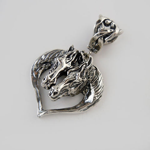 Zodiac Horse Heads Heart Pendant Necklace