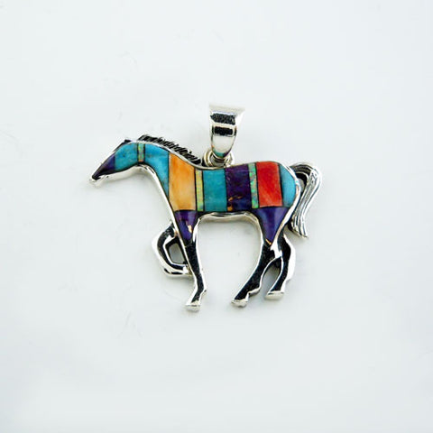 Inlay Striped Turquoise Horse Pendant Necklace