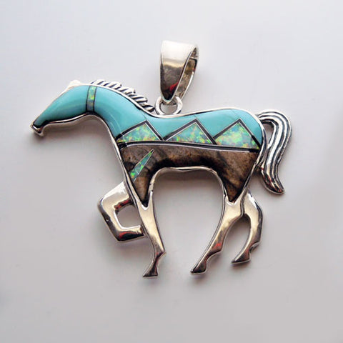 Mountain Inlay Large Horse Pendant Necklace