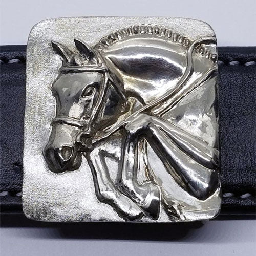 Classic Jumping Horse Belt Buckle in Bronze