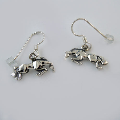 Snowman Jumping Horse Earrings in Sterling Silver