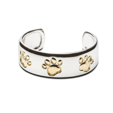 Cuff Bracelet with Paw Prints Sterling Silver and 18k Gold