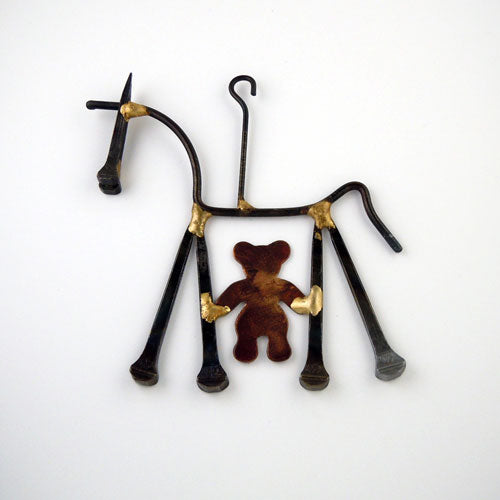 Teddy Bear Horse Horseshoe Nail Ornament