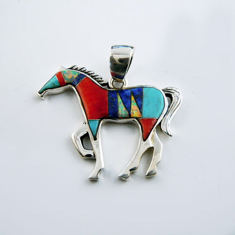 Multicolored Turquoise Inlay Horse Pendant