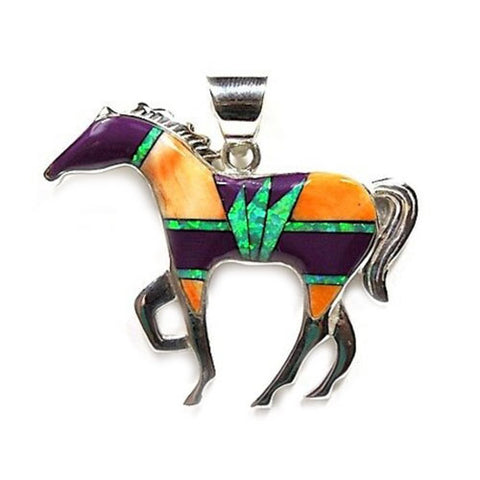Large Orange Purple Inlay Horse Pendant Necklace