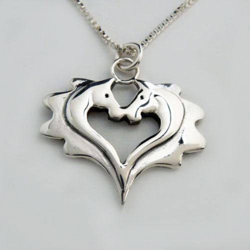 Double Horse Heads Heart Pendant Necklace
