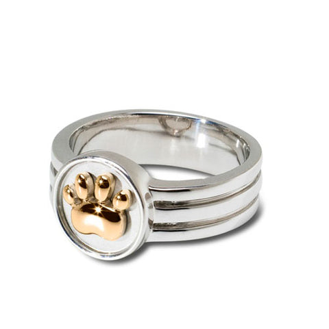 Sterling and 18k Yellow Gold Paw Print Ring