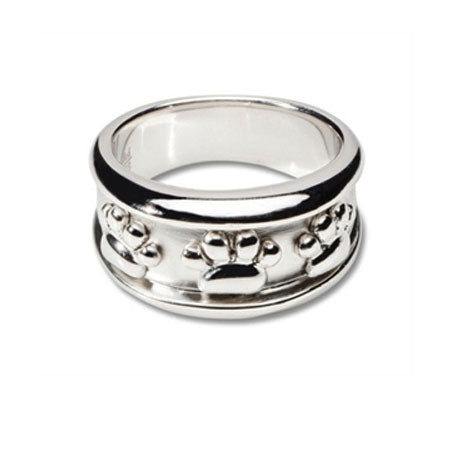 Paw Print Band Ring Sterling Silver