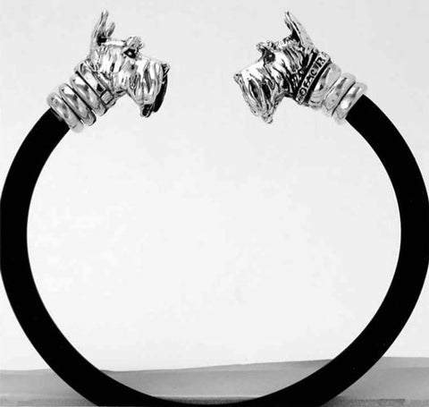 Two Dog Heads in Sterling Silver on Black Rubber Bracelet