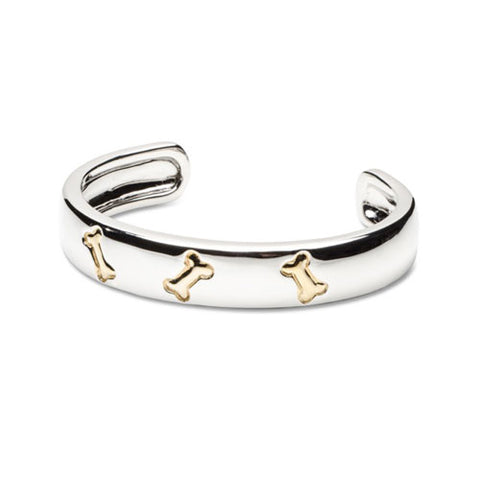Dog Bone Cuff Bracelet Sterling Silver and 18k Gold