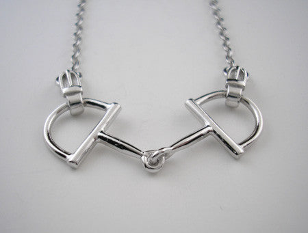 Snaffle Bit with Buckles Necklace Sterling Sliver