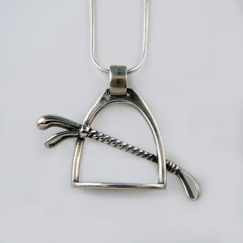 Stirrup and Crop Pendant Necklace
