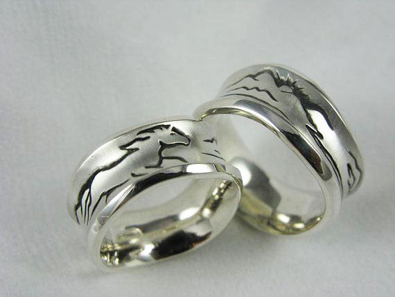 Completely new Sterling Silver Handcrafted Wild Horses Ring Perfect Wedding Ring  OR04