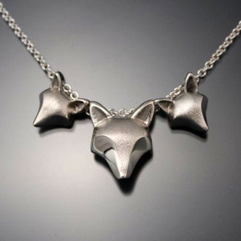 Fox Mother and Kits Necklace