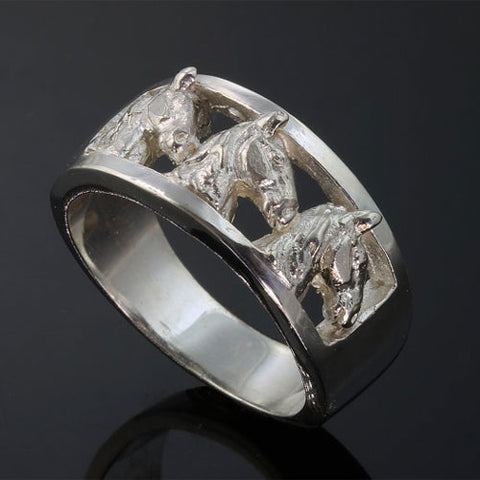 Three Horse Head Ring