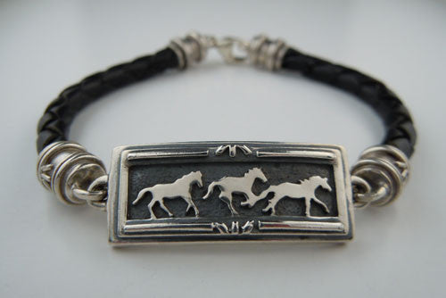 Sterling Silver Three Horse Bracelet