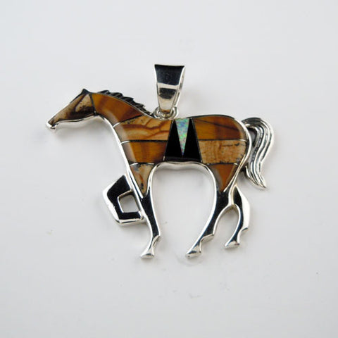 Flashy Chestnut Mare Inlay Horse Pendant Necklace
