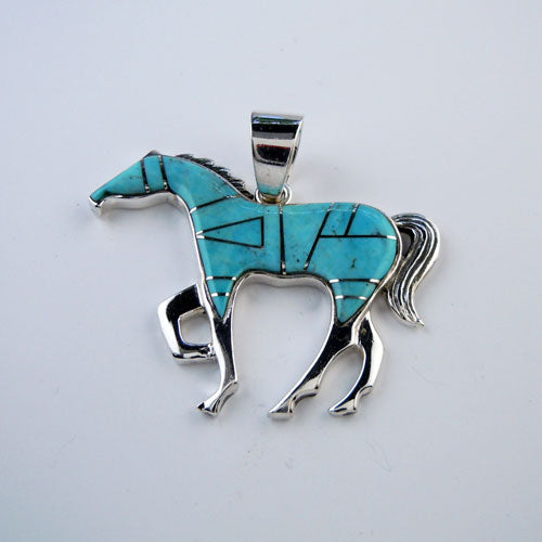 Classic Turquoise Inlay Horse Pendant