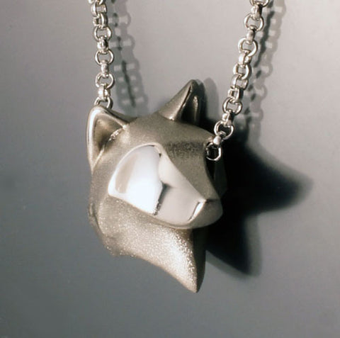 A Siberian Husky Dog Head Pendant Necklace