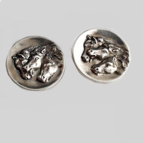 Arabian Horses Clip Earrings Sterling Silver
