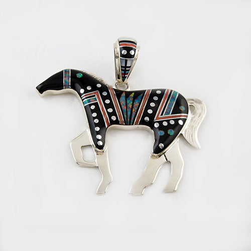 Large Fancy Inlay Horse Pendant Necklace