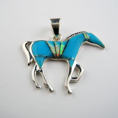 .Turquoise Inlay Horse Pendant
