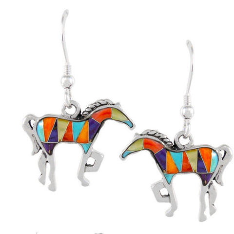 Harlequin Inlay Horse Earrings Sterling Silver