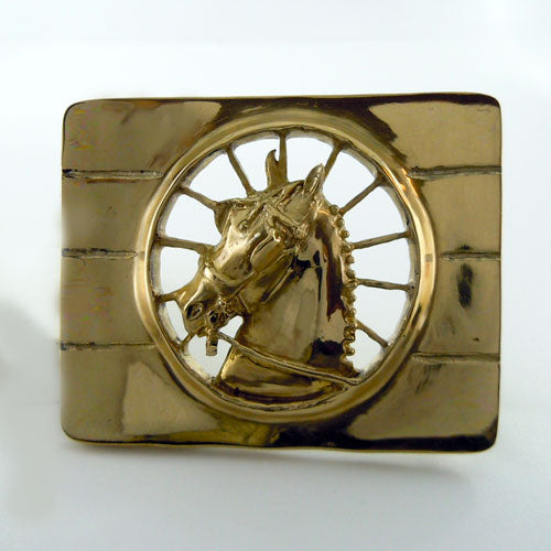 Carriage Driving Horse Belt Buckle in Bronze