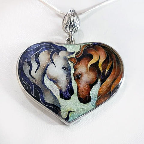 Lovers Enamel Horses Pendant Necklace