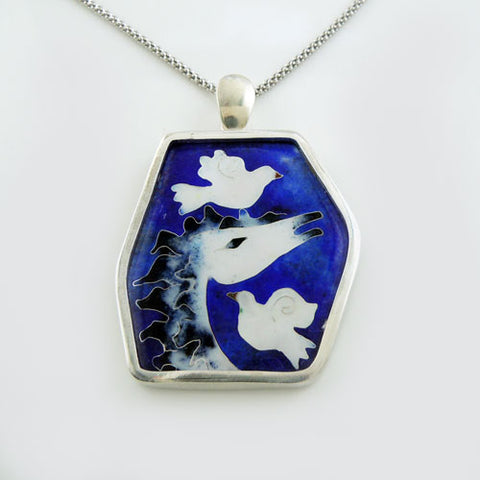 Cloisonne Horse and Doves Pendant Necklace