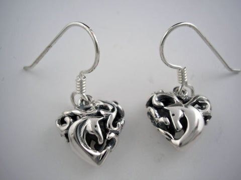 Entwined Horses in Heart Earrings