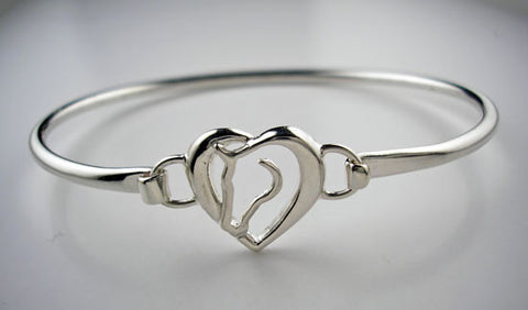 Heart and Horse Bangle Bracelet